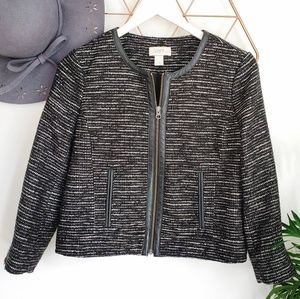 LOFT, Black Tweed Blazer Jacket w/ Leather Trim 6P